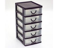 Petit Bloc Coffret Tour - Boite de rangement 5 tiroirs plastique - violet