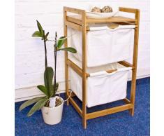 Relaxdays Panier à linge bambou 2 étages 2 compartiments sac en tissu commode Tri-linge sac à linge en toile amovible HxlxP : 73 x 37 x 33 cm cm surface de rangement avec poignées, nature