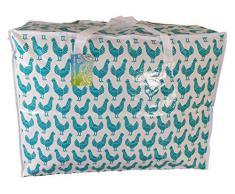 Grand sac de rangement de 65 litres. . Motif poulets vert turquoise. Jouets, lavage et sac à linge
