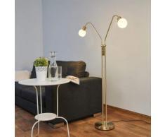 Elaina - lampada LED da terra a due luci, ottone