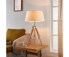 Lampada da tavolo Katie di legno e stoffa