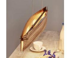 Lampada sospesa LED legno zebrano Malu, dimmer