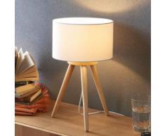 Lampada da tavolo Charlia in legno e stoffa bianca