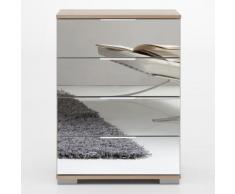 Cassettiera Girasole I 4 cassetti in essenza rovere fresato e specchio