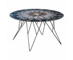 Tavolino Prunus 80 con piano in vetro effetto mosaico
