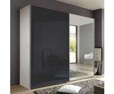 Armadio Nigella D I in due altezze, in bianco opaco, vetro grigio e specchio