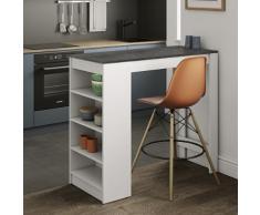 Tavolo Bar con scaffali laterali Aravis in bianco opaco e effetto cemento