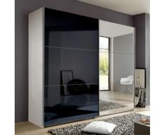 Armadio Nigella D I in due altezze, in bianco opaco, vetro nero e specchio