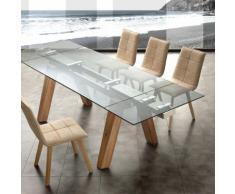 Tavolo allungabile Caronte in vetro temperato e tinto naturale