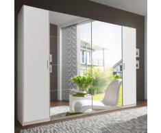 Armadio Cleome II in bianco opaco e specchio