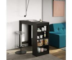 Tavolo Bar con scaffali laterali Aravis in nero e effetto cemento