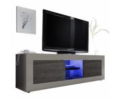 Mobile porta TV Basic M con 2 ante in peltro opaco e wengè