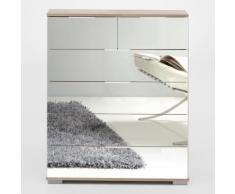 Cassettiera Girasole IV 6 cassetti in essenza rovere fresato e specchio