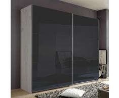 Armadio Nigella D I in due altezze, in rovere sbiancato e vetro grigio