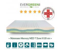 Evergreenweb Kit Silver Memory Med: Materasso Memory, Rete a Doghe in Legno e Cuscino in Memory