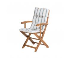 Sedia da giardino in legno con cuscino a strisce beige-verde MAUI