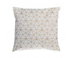 Cuscino decorativo in cotone motivo geometrico 45 x 45 cm oro