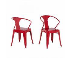 Sedia rossa da pranzo in acciaio - SUTTON