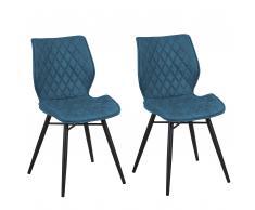 Set 2 sedie da pranzo blu oceano LISLE