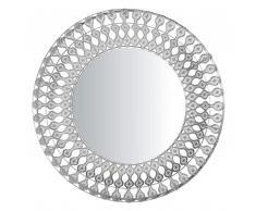 Specchio da parete in color argento ø80 cm OREDON