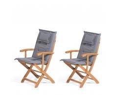 Set di 2 sedie da giardino in legno con cuscini grigio MAUI