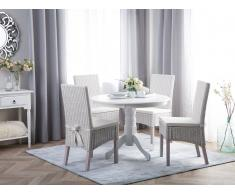 Set di 2 sedie in rattan bianco con cuscino ANDES