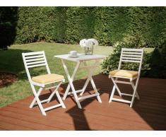 Set da balcone in legno bianco - Tavolo con 2 sedie - Cuscino giallo - FIJI
