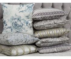 Cuscino decorativo a righe 45 x 45 cm verde/grigio