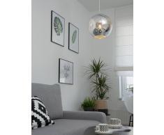 Lampadario sferico in vetro argentato ASARO