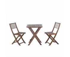 Set da balcone in legno laccato - Tavolo con 2 sedie - FIJI