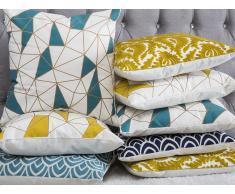 Cuscino decorativo in cotone motivo geometrico 45 x 45 cm giallo