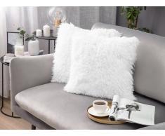 Cuscino di pelliccia bianco 45 x 45 cm CIDE