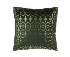 Cuscino decorativo motivo geometrico 45x45cm velluto verde scuro