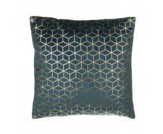 Cuscino decorativo velluto motivo geometrico 45x45cm blu scuro