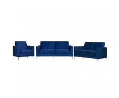 Set soggiorno 6 posti in tessuto vellutato blu scuro FENES