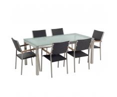 Set da giardino a 6 posti in vetro 180cm con sedie in rattan nero GROSSETO