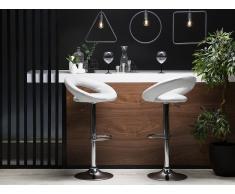 Sgabello da bar in ecopelle bianco regolabile in altezza set di 2 pezzi PEORIA
