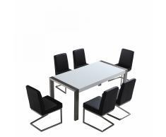 Set di tavolo e sedie da pranzo - Tavolo 180cm con 6 sedie - ARCTIC I