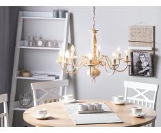 Lampdario candeliere in color bianco antico BRITHON