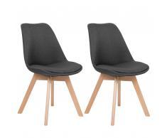 Set di 2 sedie da pranzo in colore grigio scuro DAKOTA II