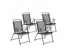 Set da giardino 4 sedie pieghevoli in alluminio nero LIVO