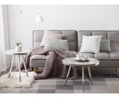Tavolino in color marmo bianco con gambe in bianco/argento RAMONA