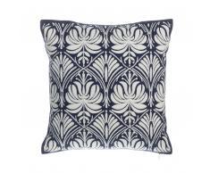 Cuscino decorativo in cotone a ornamenti 45 x 45 cm bianco/blu scuro