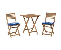 Set da balcone in legno marrone - Tavolo con 2 sedie - Cuscini bianco azzurro zigzag - FIJI