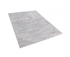 Tappeto in pelle beige / argento 140 x 200 cm TIPILI