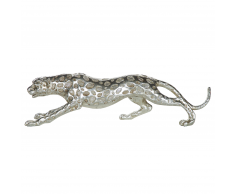 Statuetta decorativa in color argento LEOPARD