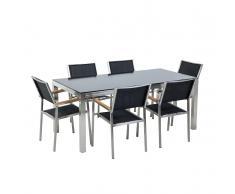 Set tavolo e sedie da giardino - In vetro temperato nero e fibra tessile nera - tavolo 180 con 6 sedie - GROSSETO