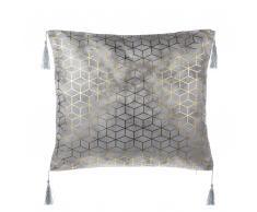 Cuscino decorativo con frange 45 x 45 cm argento