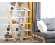 Libreria colori legno chiaro / bianco 5 scomparti ESCALANTE