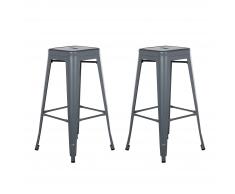 Set di 2 sgabelli da bar in metallo grigio argentato 76 cm CABRILLO